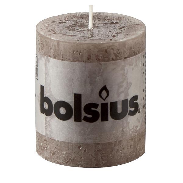 Bolsius Rustik-Stumpenkerze in Taupe