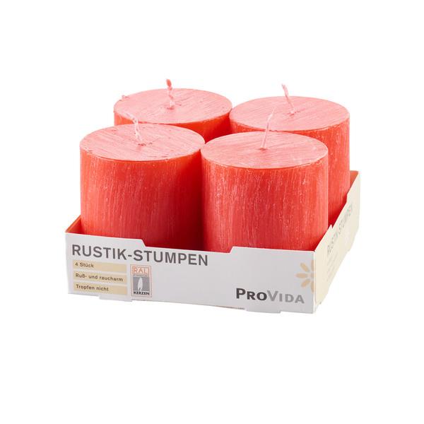 Provida Rustik-Stumpenkerzen in Rot