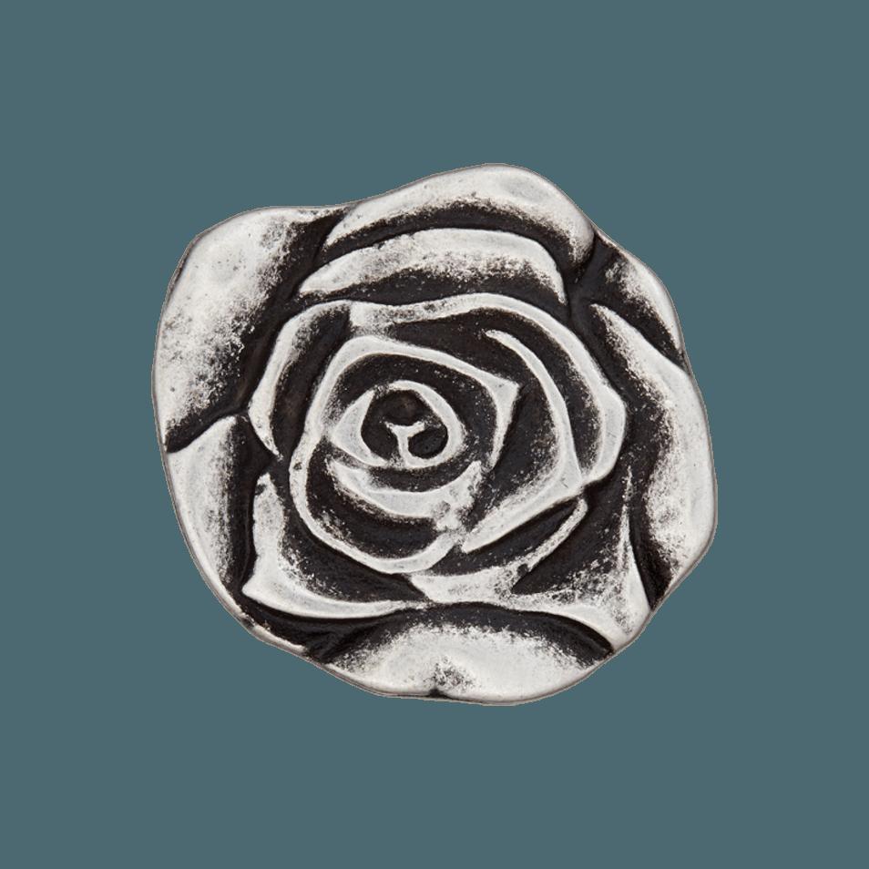Silberfarben Altsilber 3 Knöpfe Knopf Rose ca.20mm Karostonebox