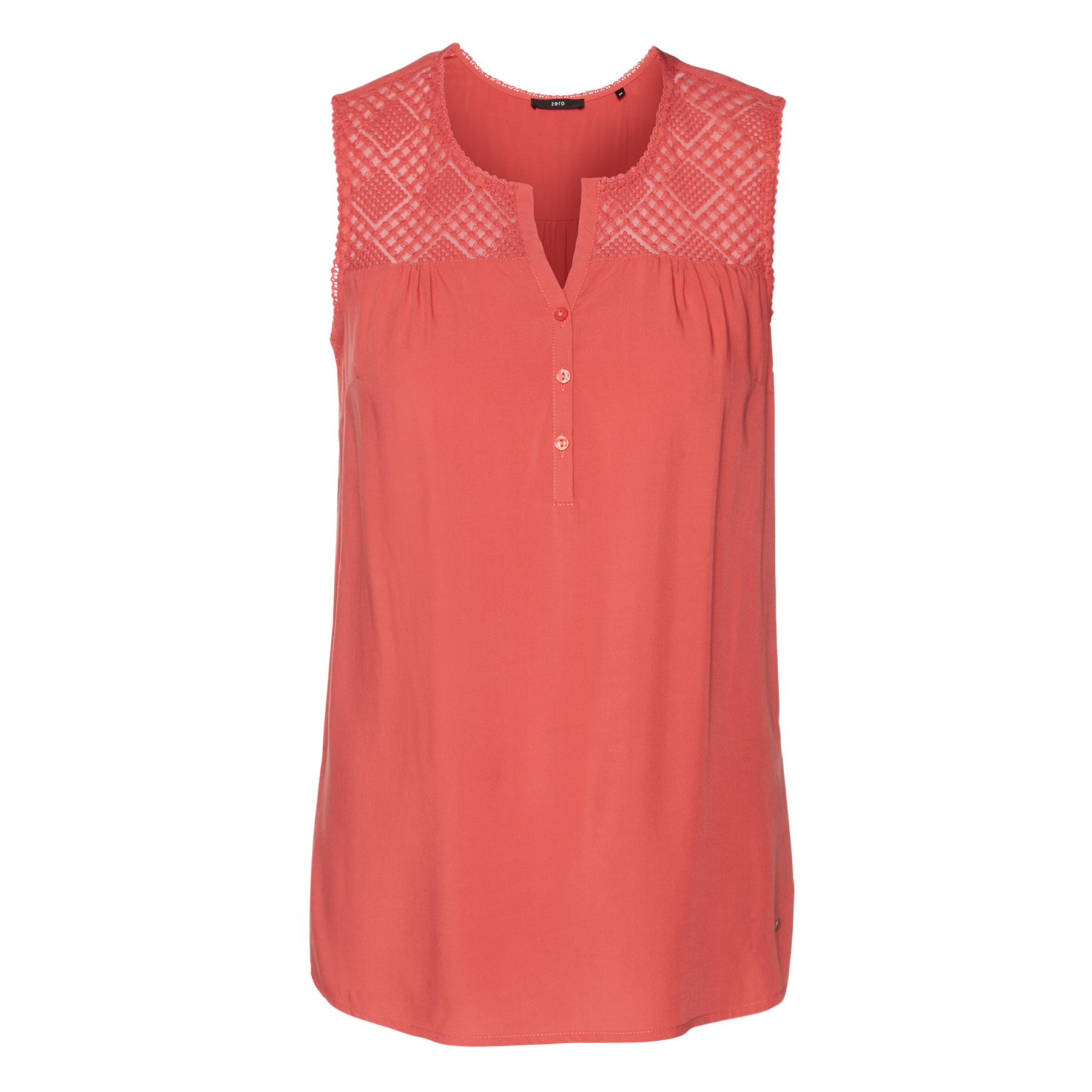 Bluse mit Spitzenbesatz peach coral