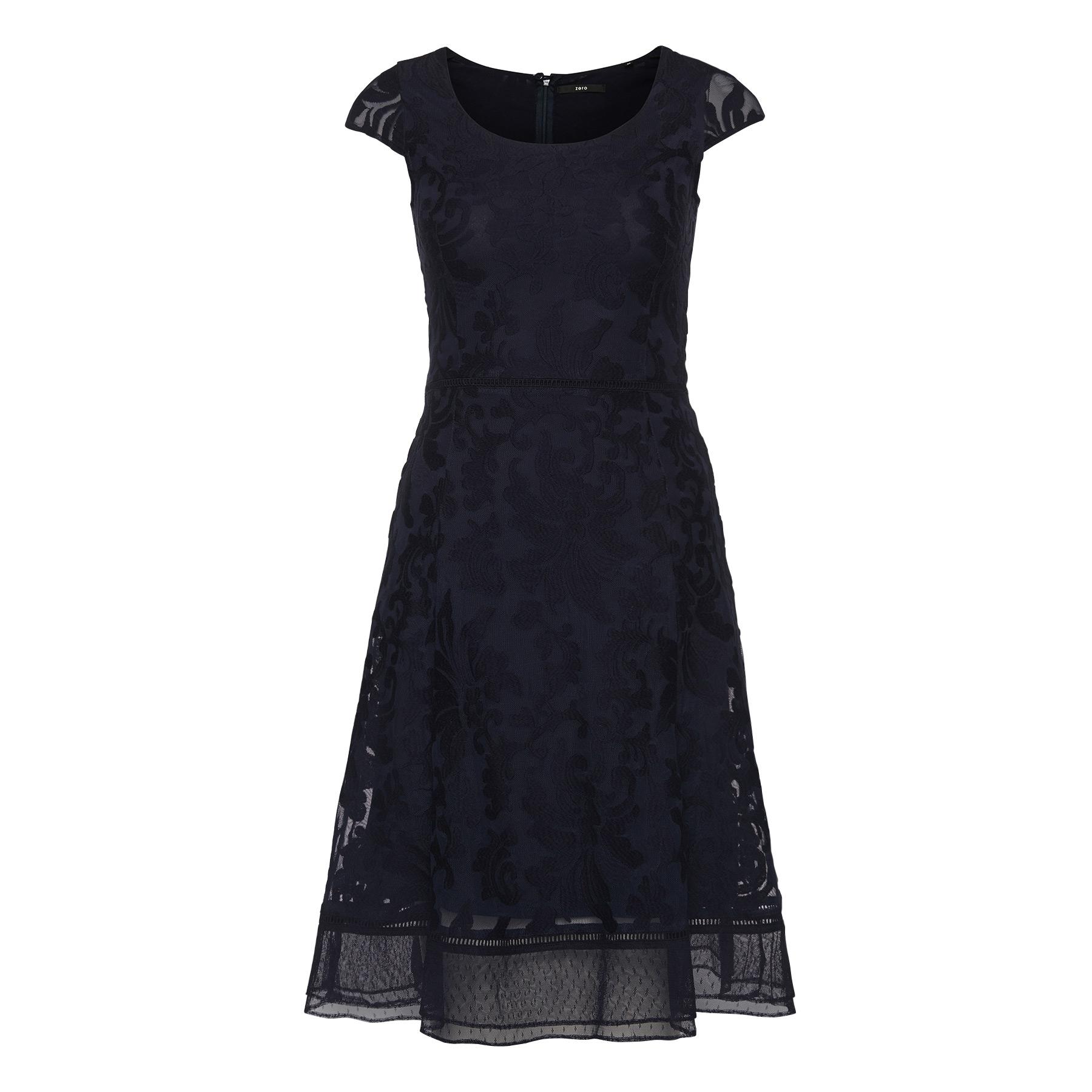 Kleid mit besticktem Mesh-Besatz blue black