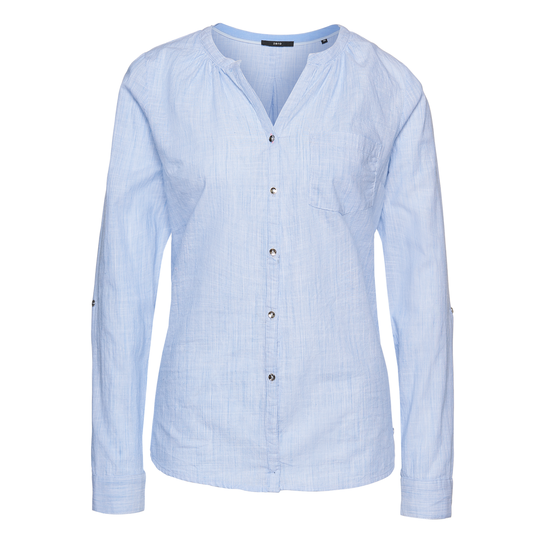 Chambray-Bluse mit Knopfleiste lily blue