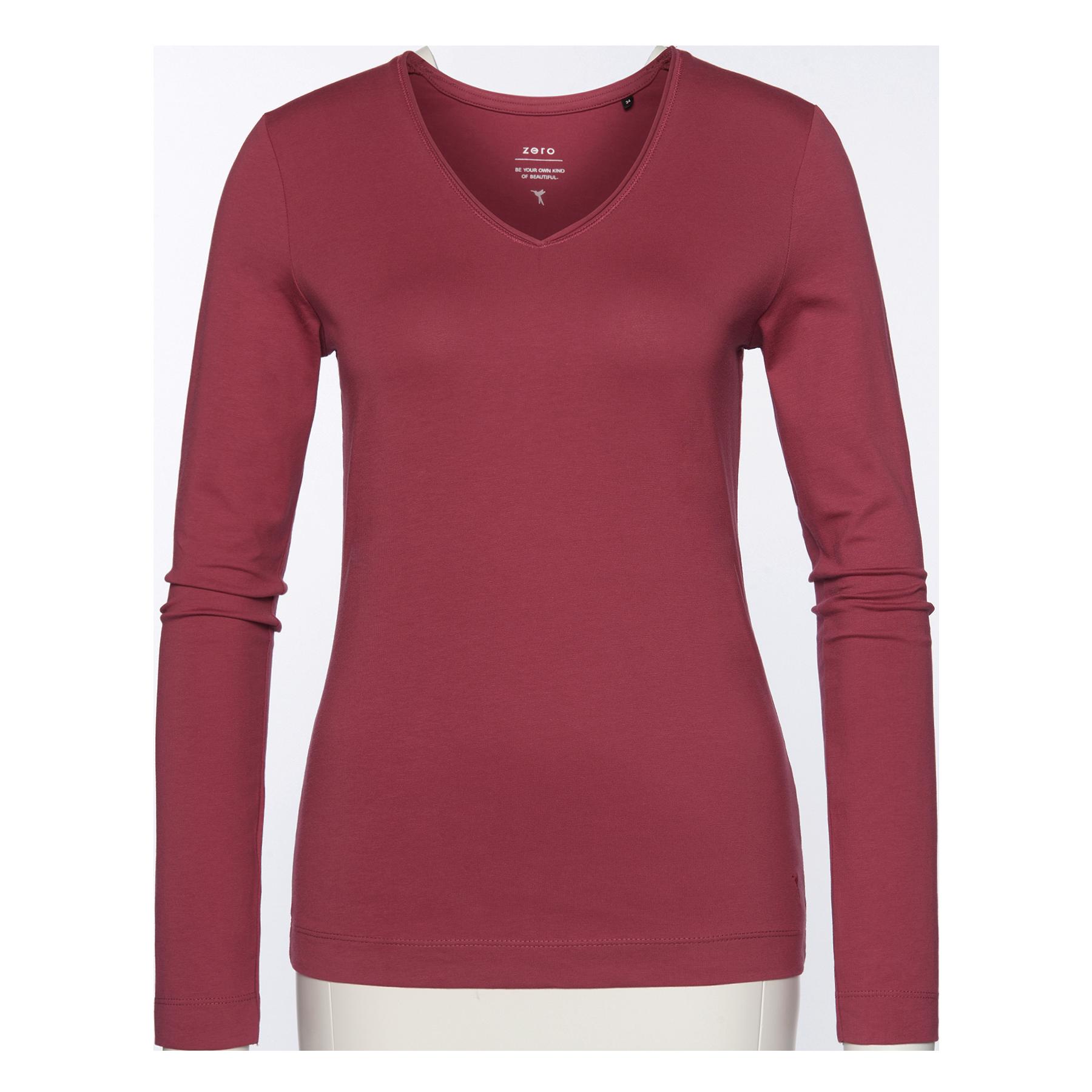 T-Shirt mit Rollsaum pink rouge