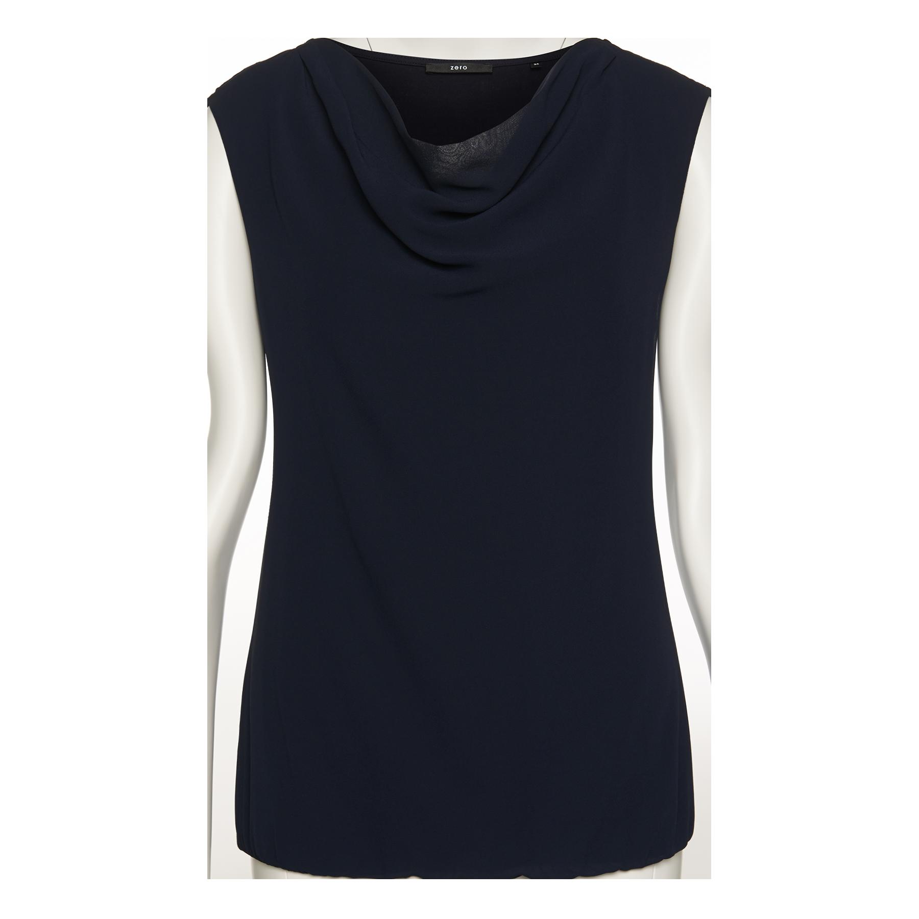 Blusenshirt mit Chiffon-Front blue black