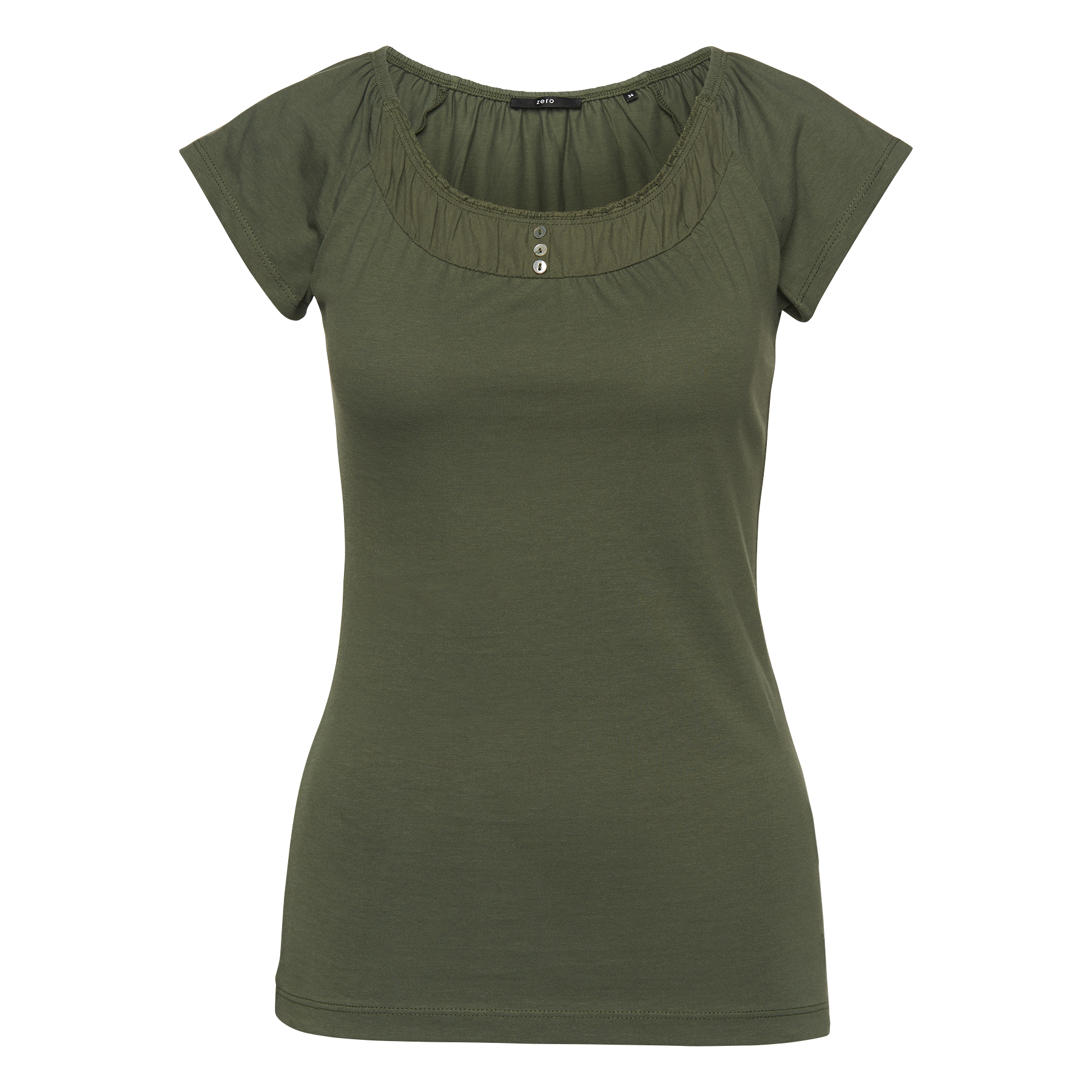 Shirt mit Volants-Ausschnitt deep khaki