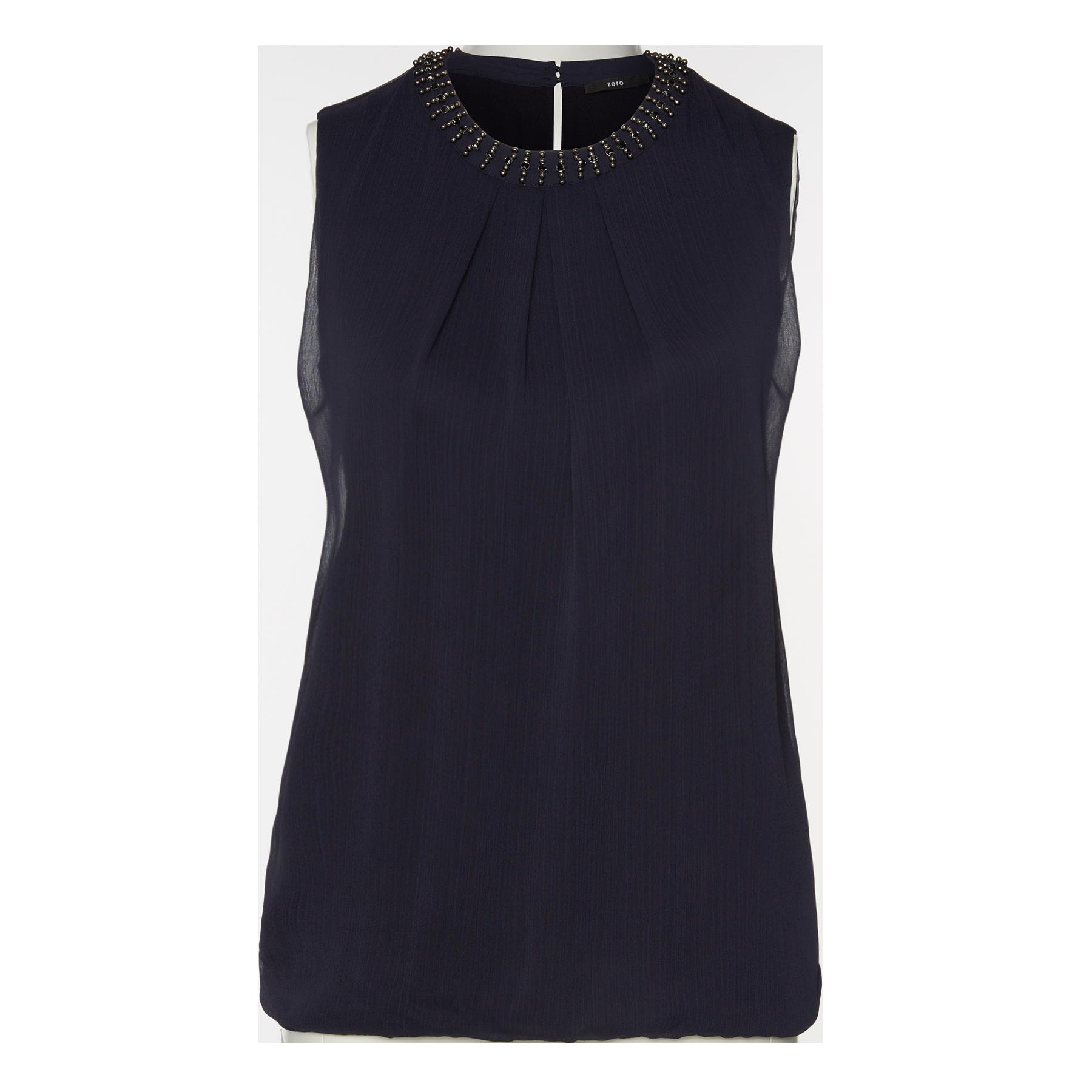 Bluse mit Schmuckstein-Besatz blue black