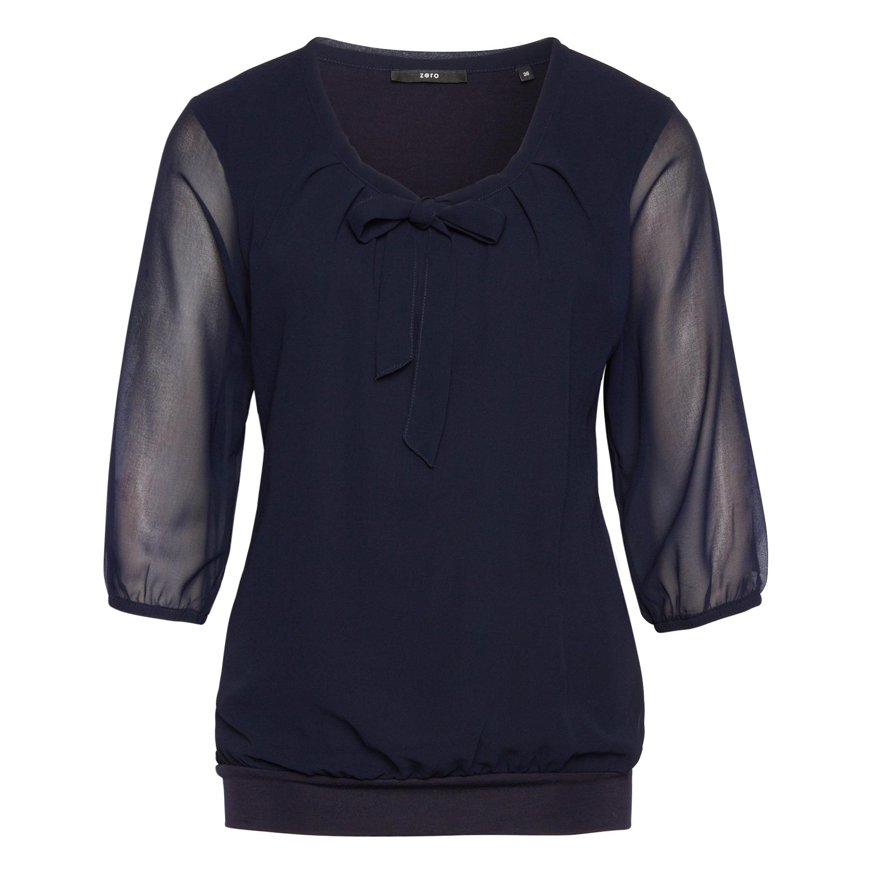 Bluse Celeste mit Schluppenkragen blue black