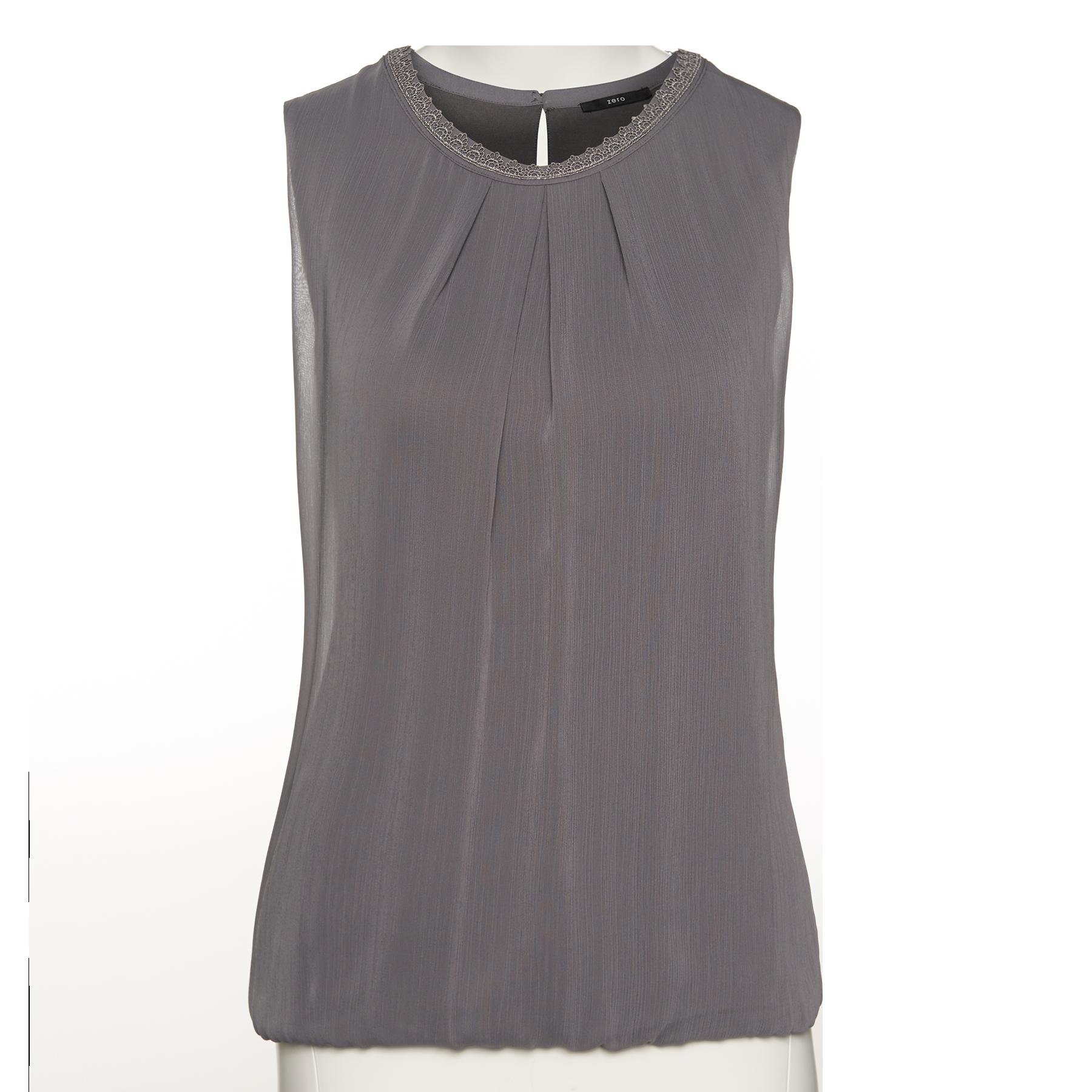 Bluse mit Häkel-Spitze iron grey