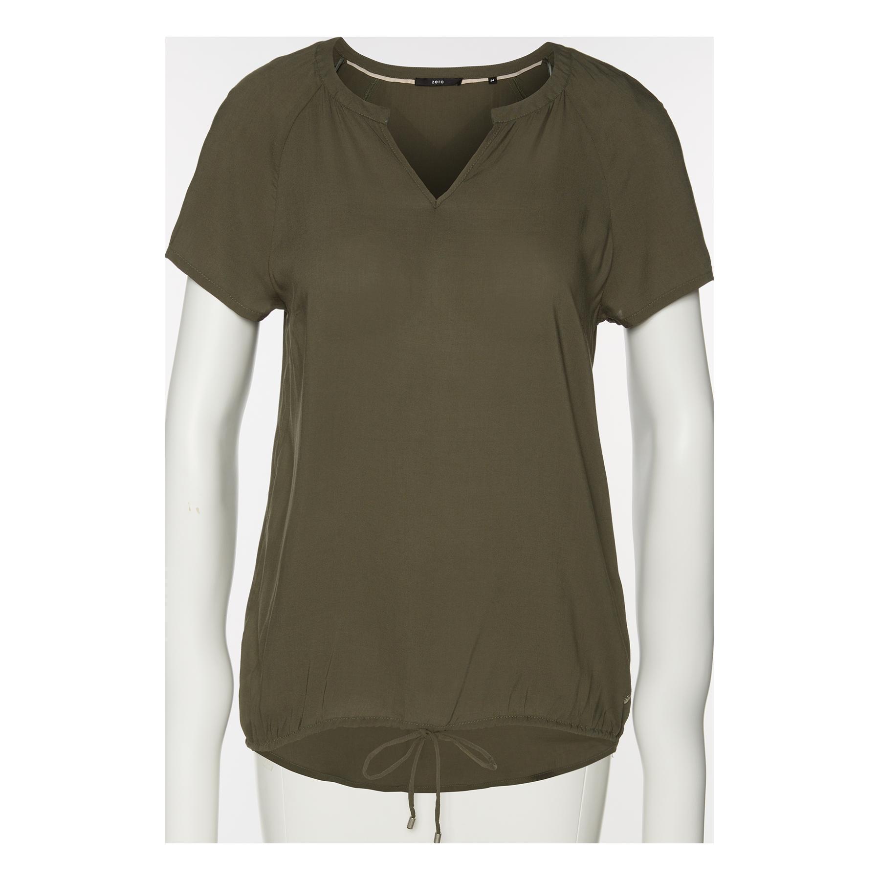 Viskose-Bluse in legerer Schnittform deep khaki