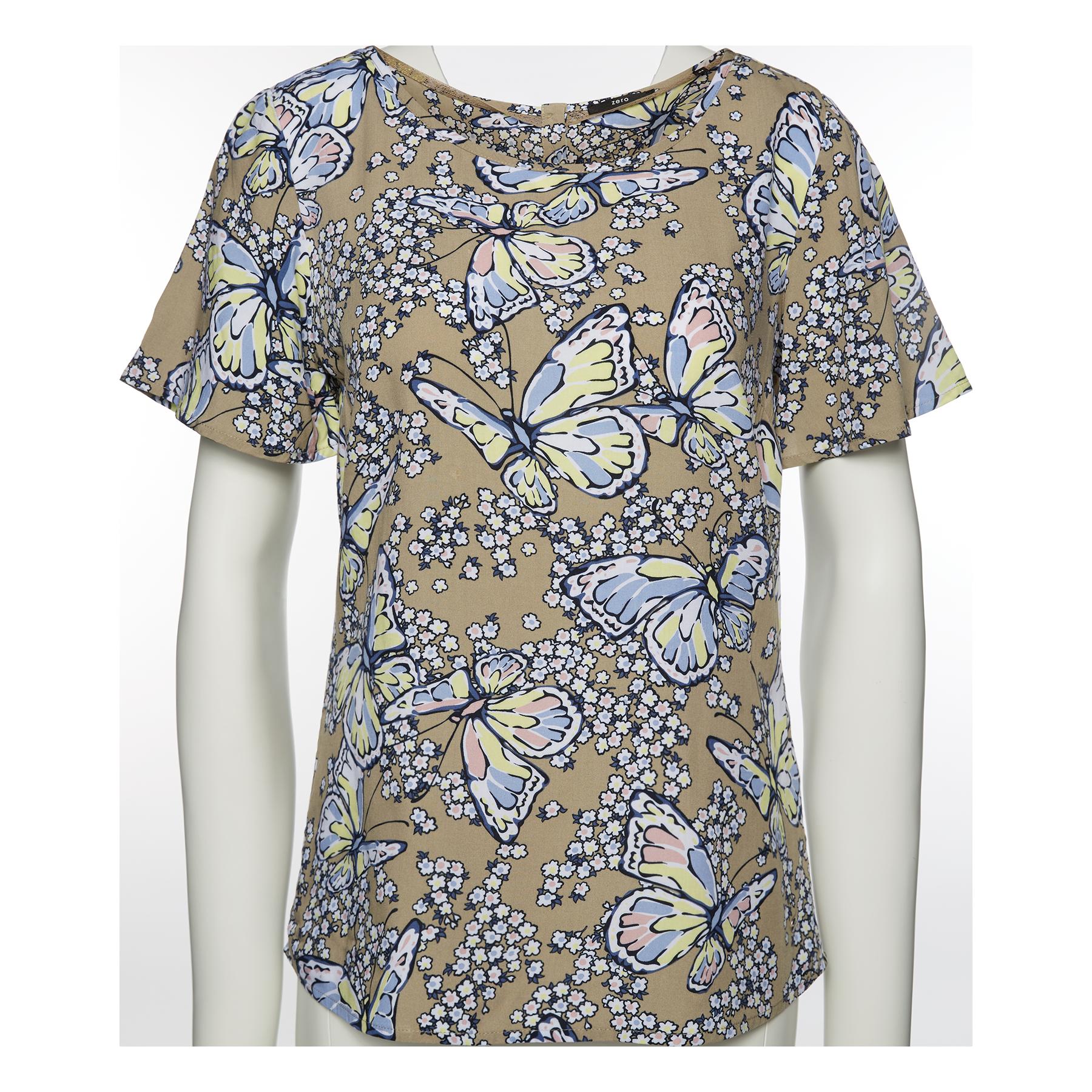 Bluse mit Butterfly-Print chestnut
