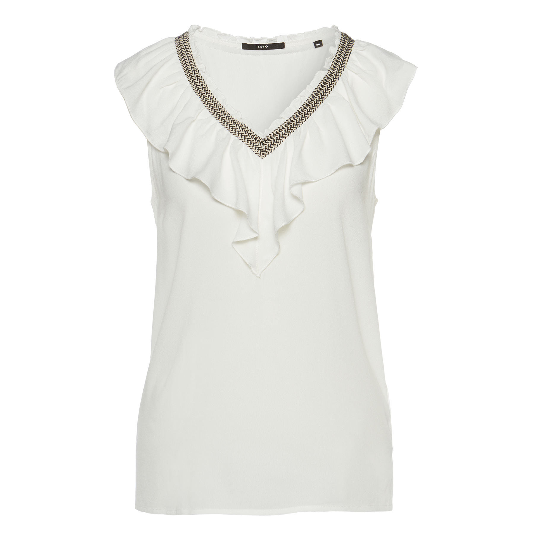 Bluse mit Volant-Blende offwhite