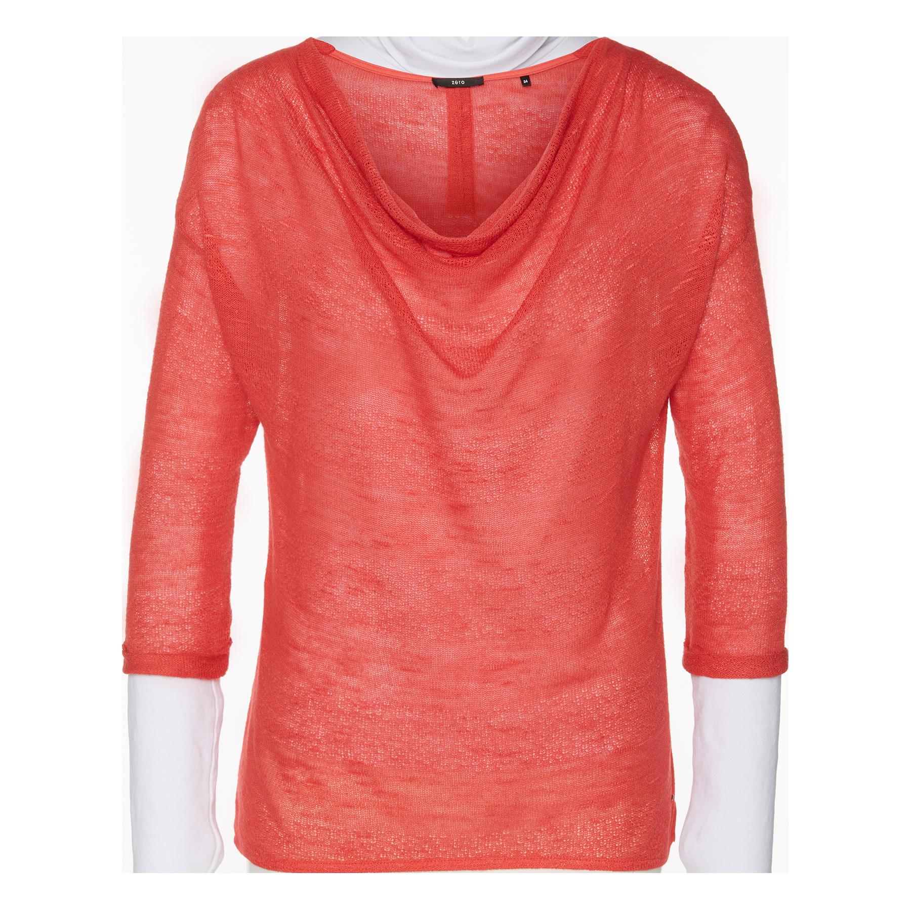 Pullover mit Wasserfall-Kragen peach coral