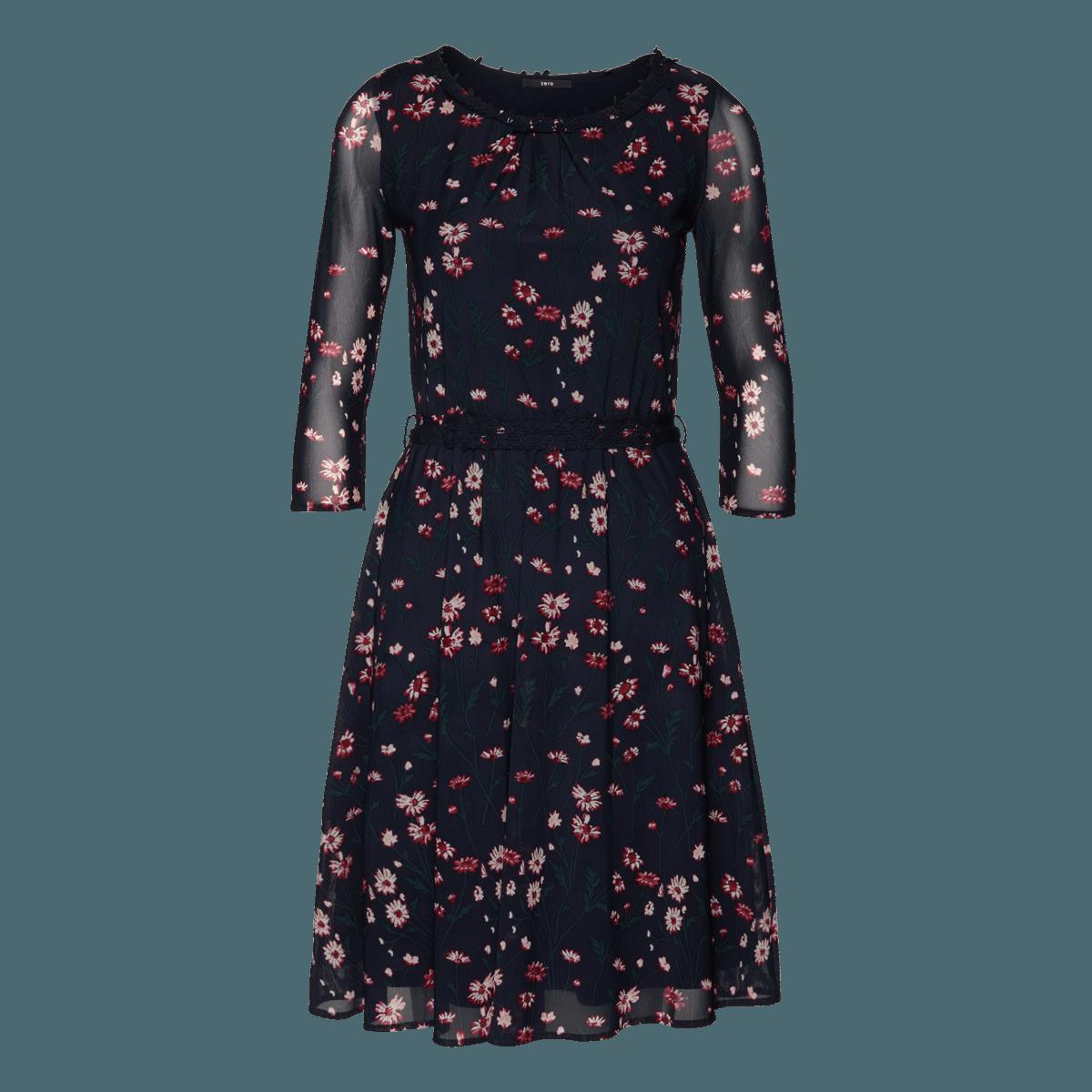 Mesh-Kleid mit Blumenprint in blue black