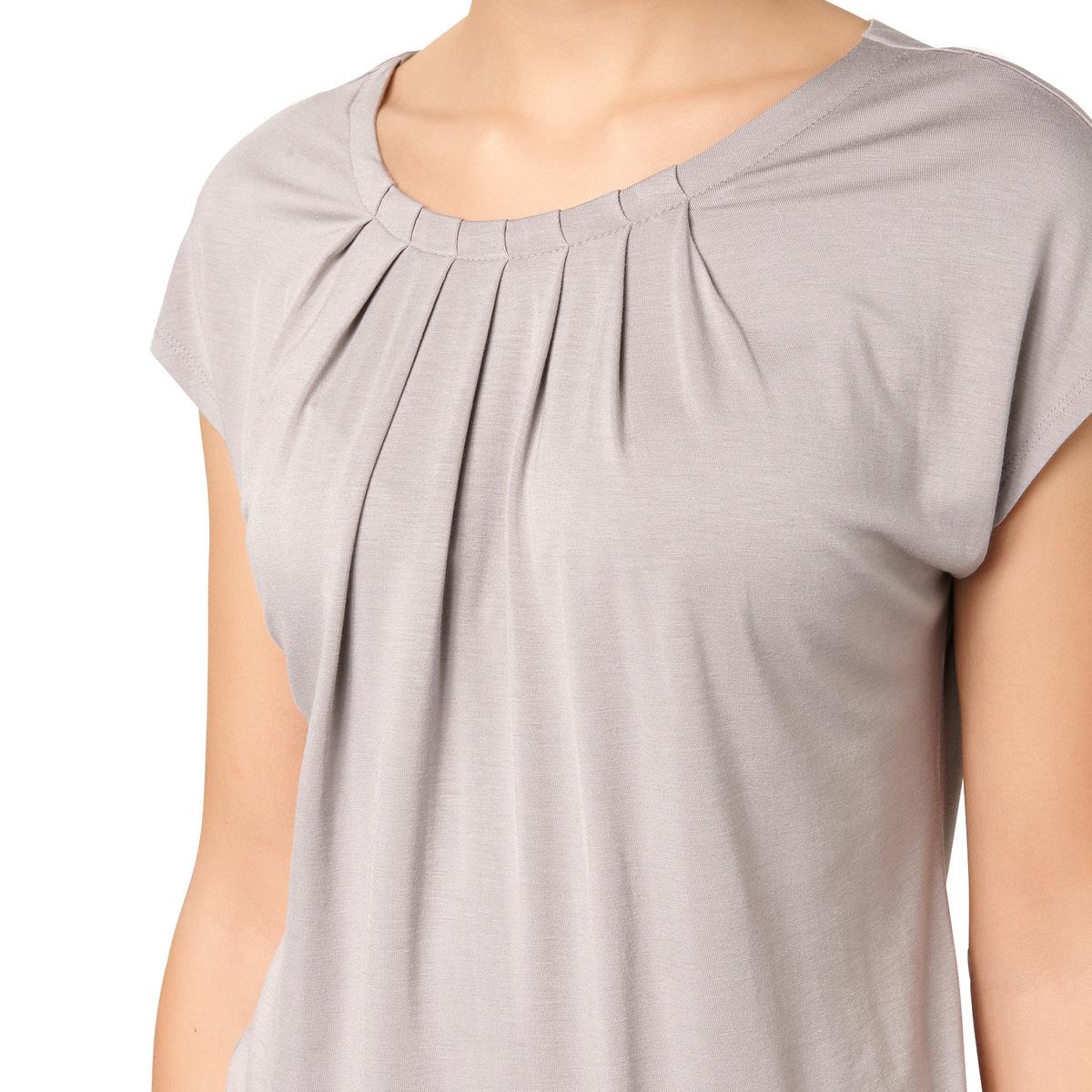 T-Shirt Rike mit frontalem Faltenwurf in sateen grey