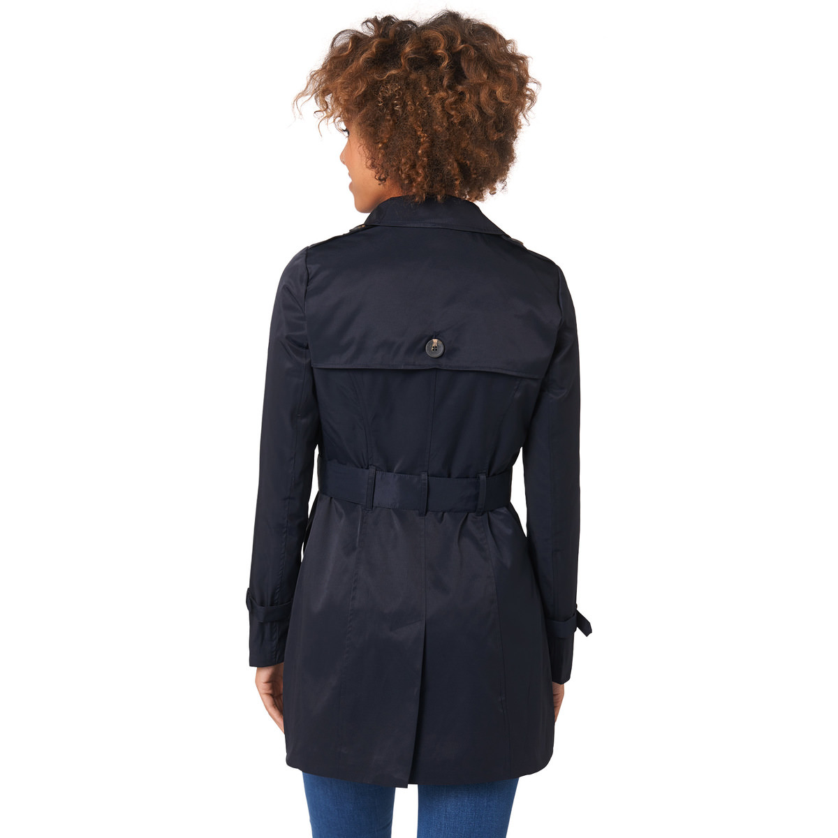 Trenchcoat mit Gürtel in blue black