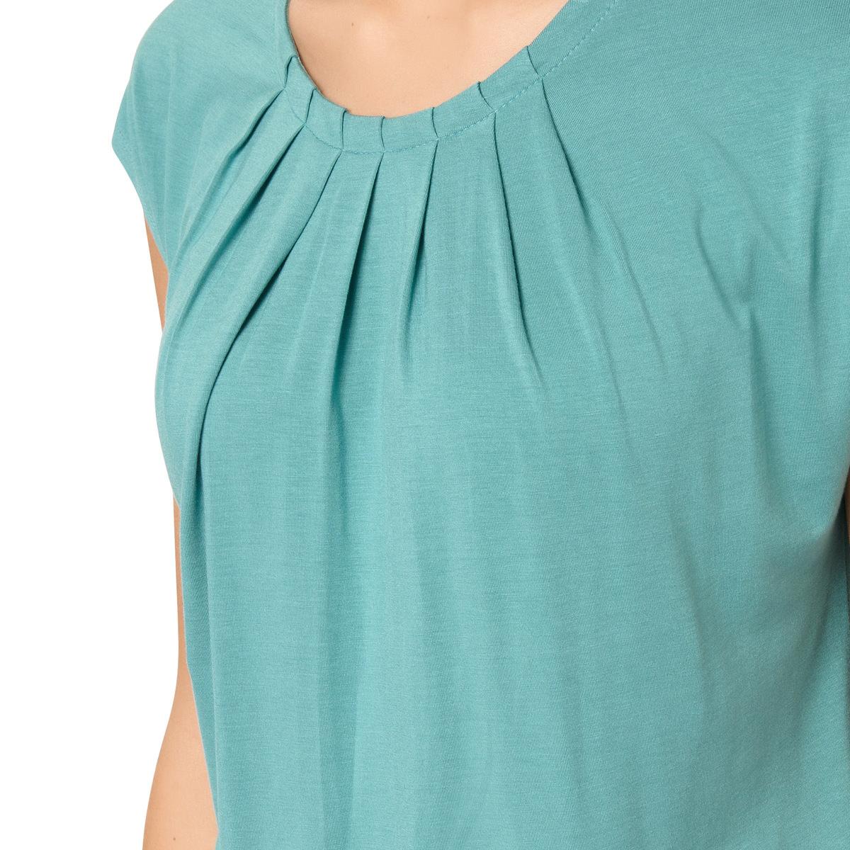 T-Shirt Rike mit frontalem Faltenwurf in light aqua