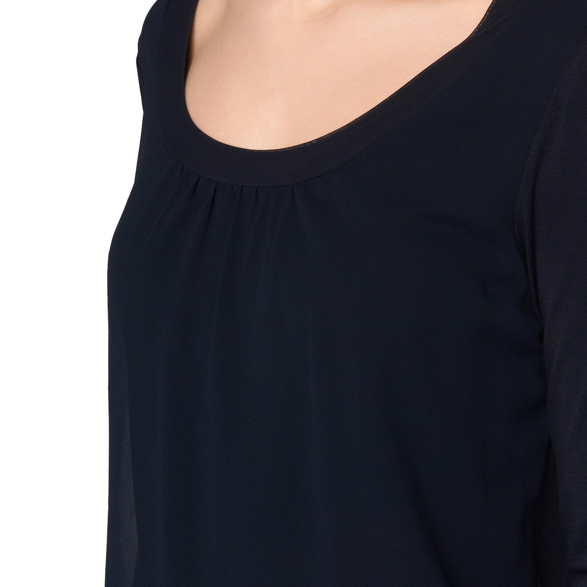 Shirt mit zartem Chiffon in blue black