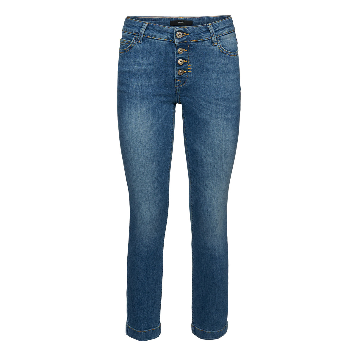 Skinny Fit-Jeans, 28 inch in mid blue heavy wash