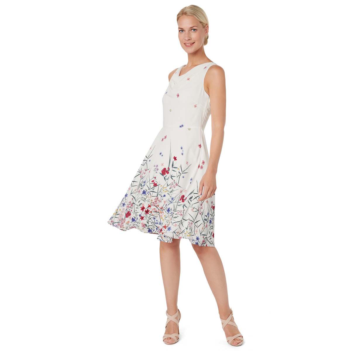Kleid mit romantischem Borderprint in offwhite