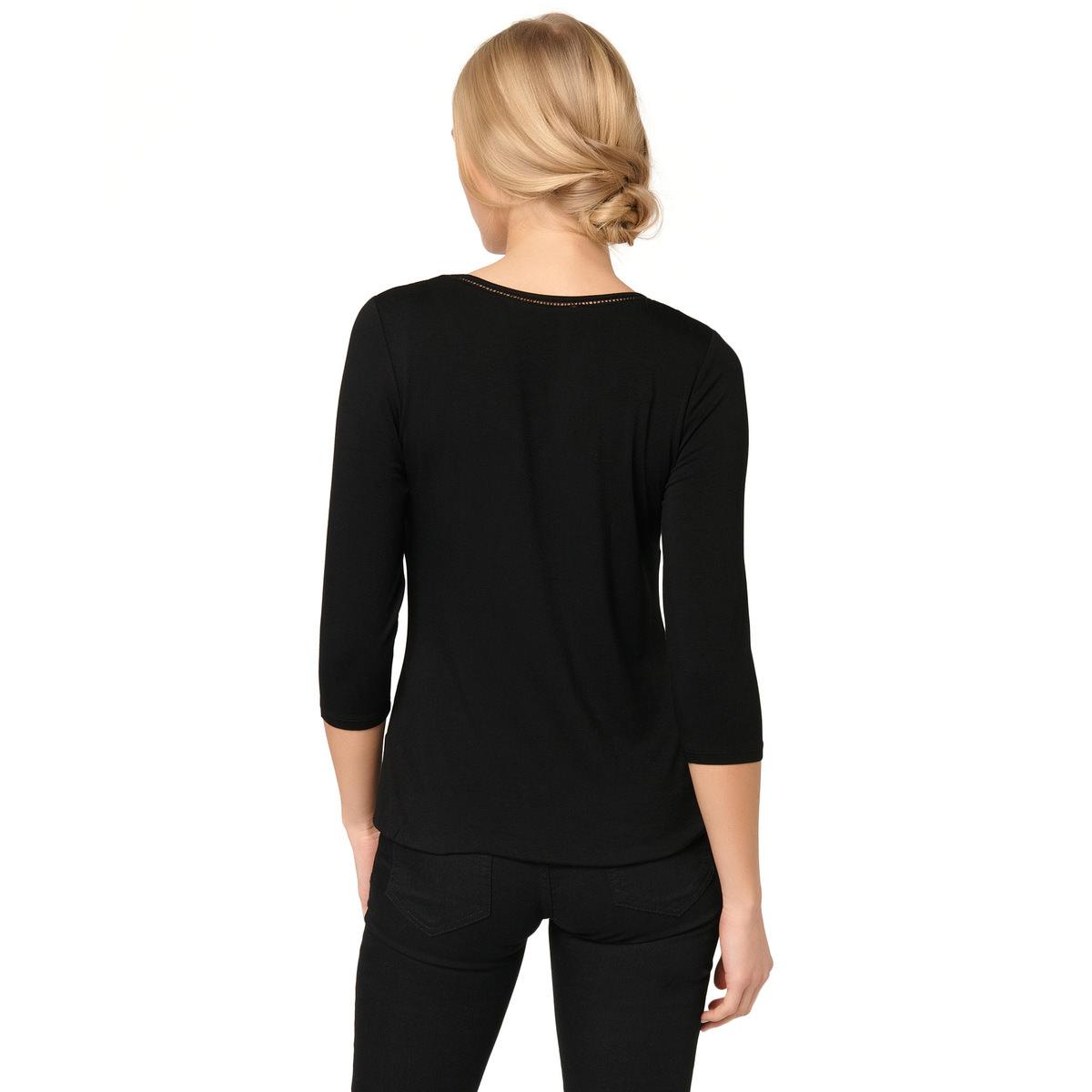 Viskose-Shirt mit Lochstickerei in black