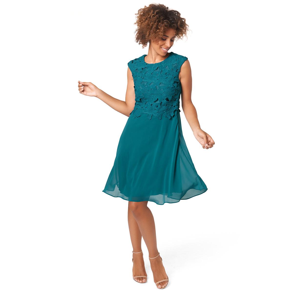 Kleid in Rock-Top-Optik in teal green