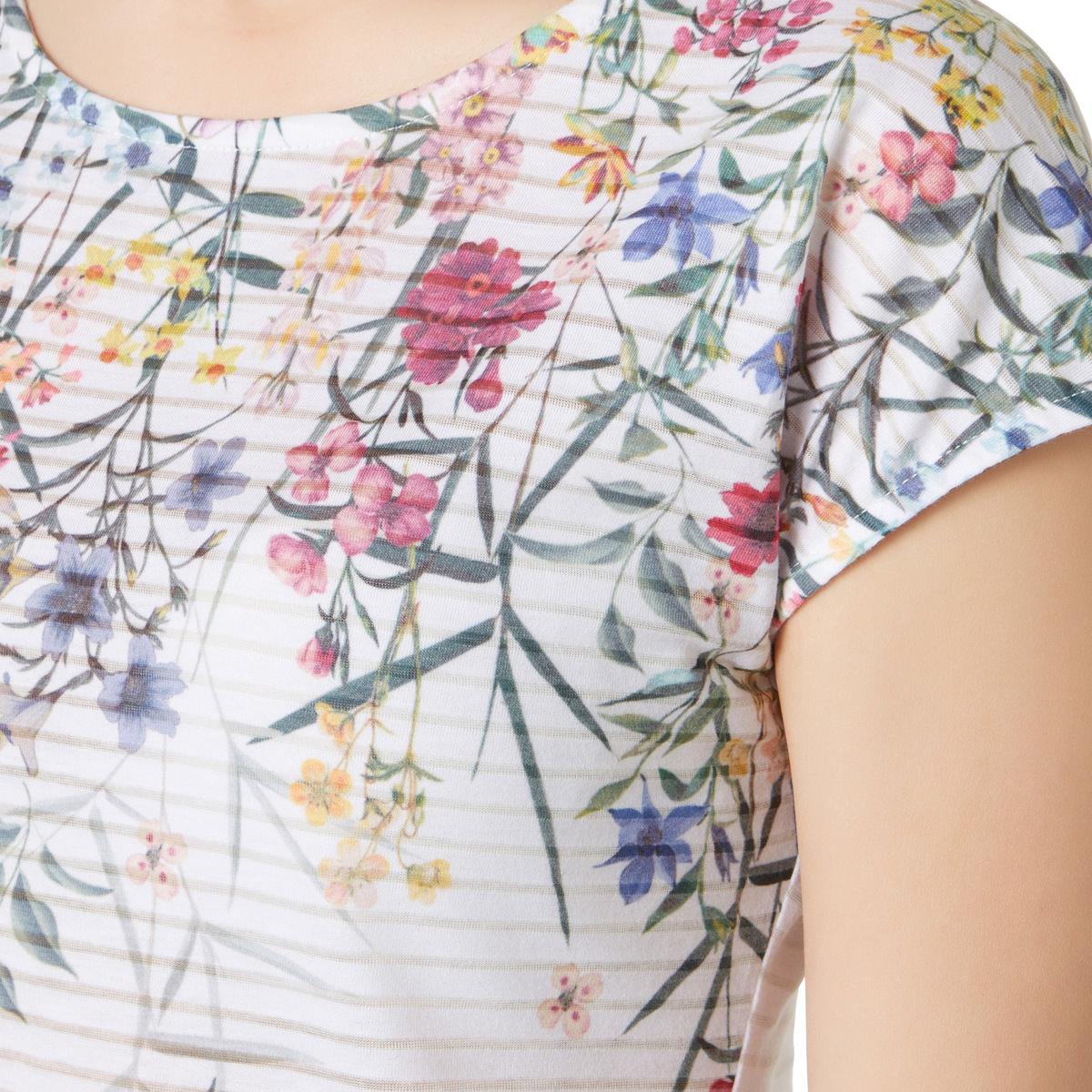 Shirt mit Blumen-Print in offwhite