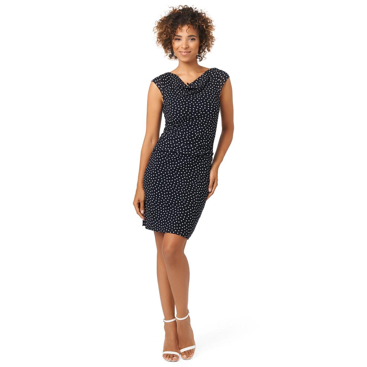 Kleid mit Pünktchen-Print in blue black