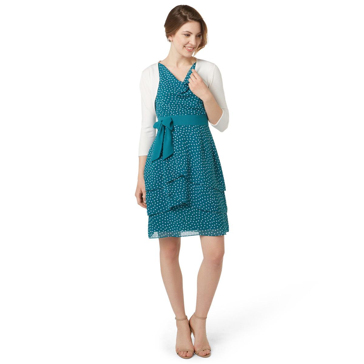 Kleid mit Volants-Saum in teal green