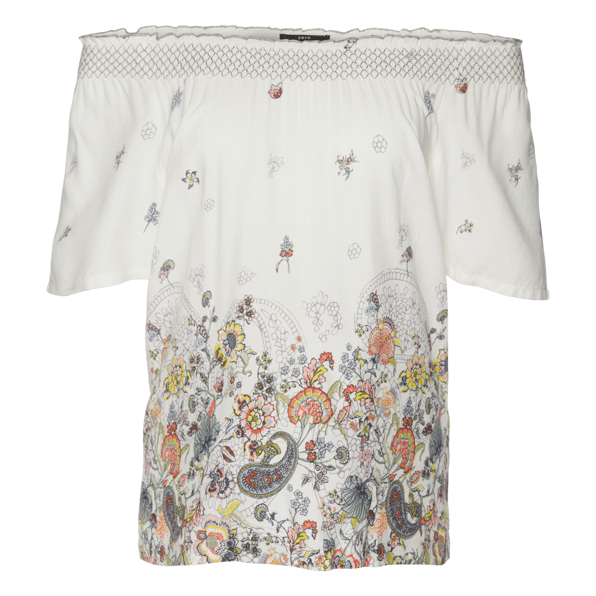 Bluse mit Border-Print in offwhite