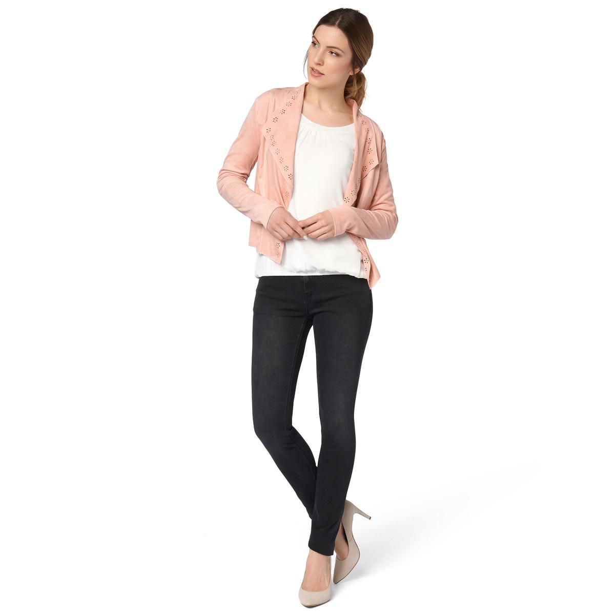 Jacke aus weichem Alcantara in rose parfait