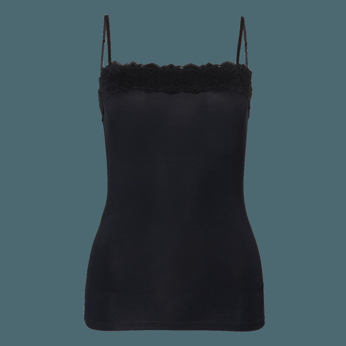 Top Tessa mit Spitzenborte in blue black