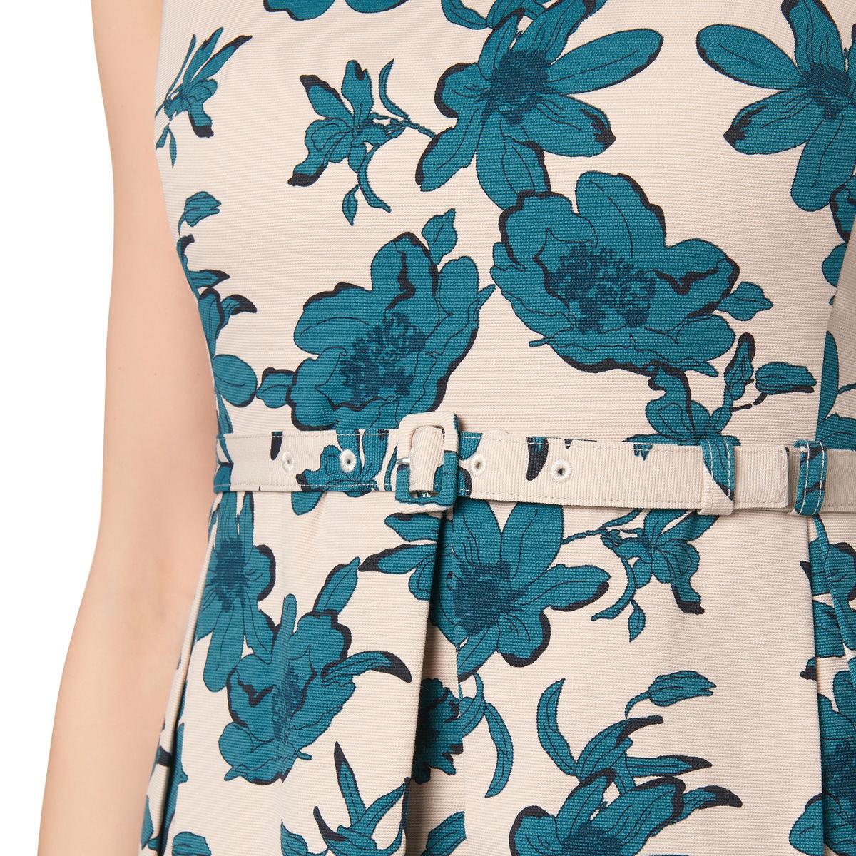 Kleid mit Allover-Blüten-Print in teal green