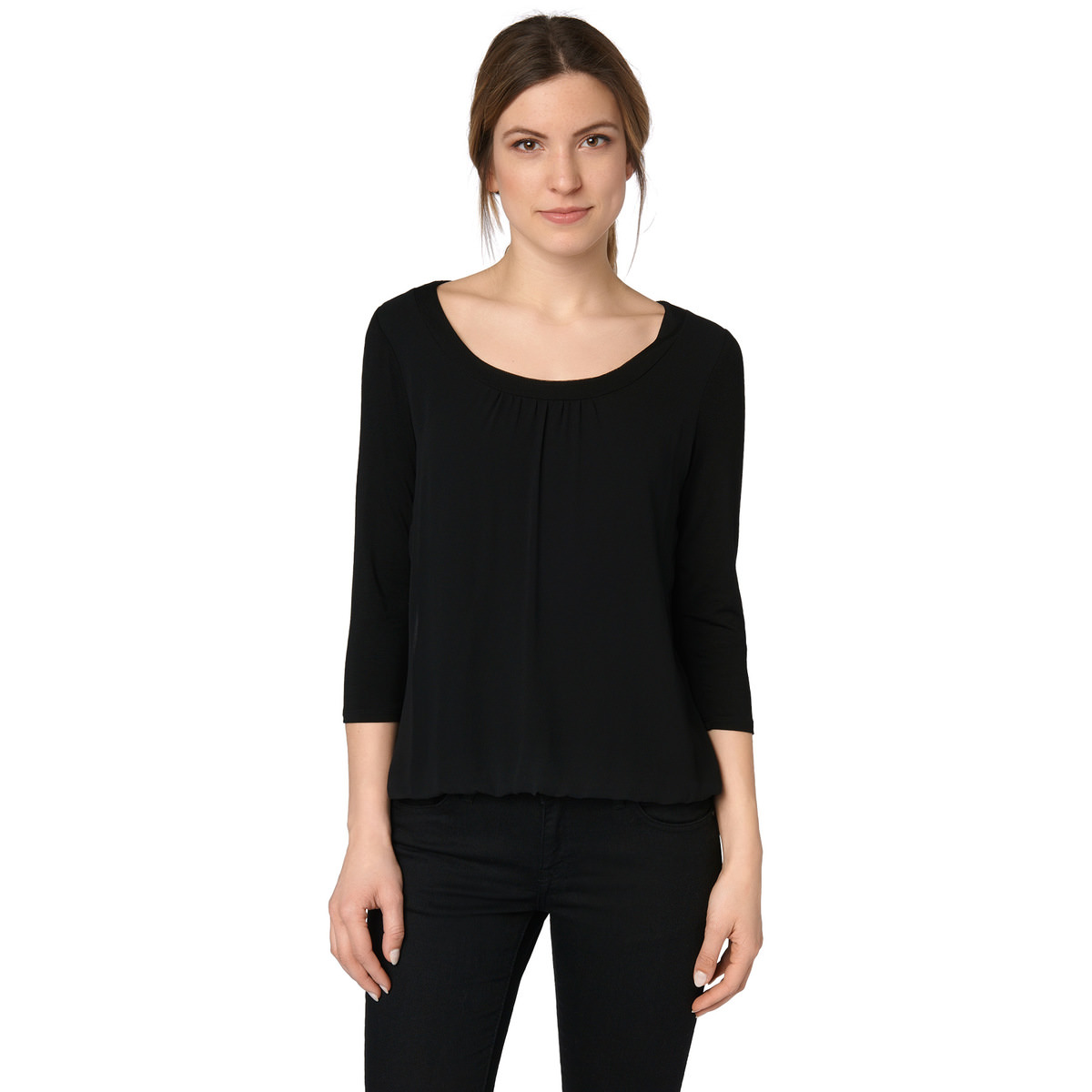 Shirt mit zartem Chiffon in black