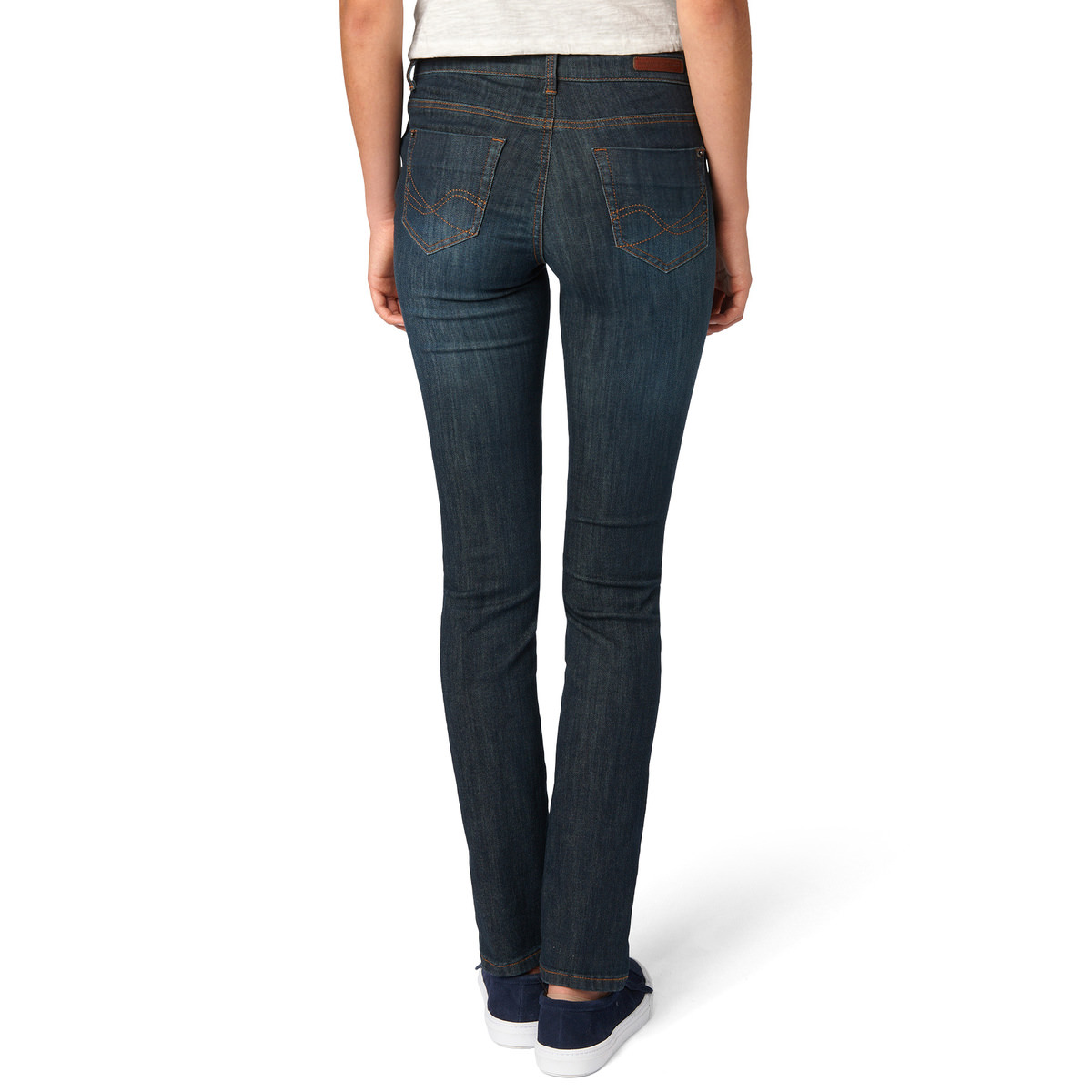 Slim Fit-Jeans Orlando, 34 Inch in dark blue stone washed
