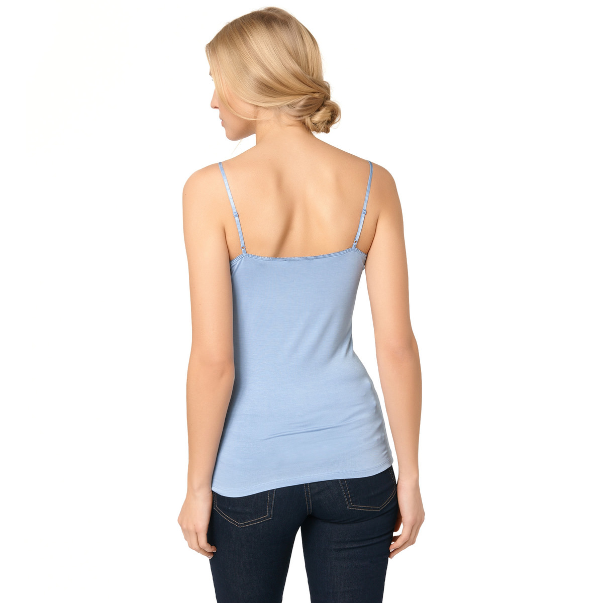 Top Tessa mit Spitzenborte in lily blue