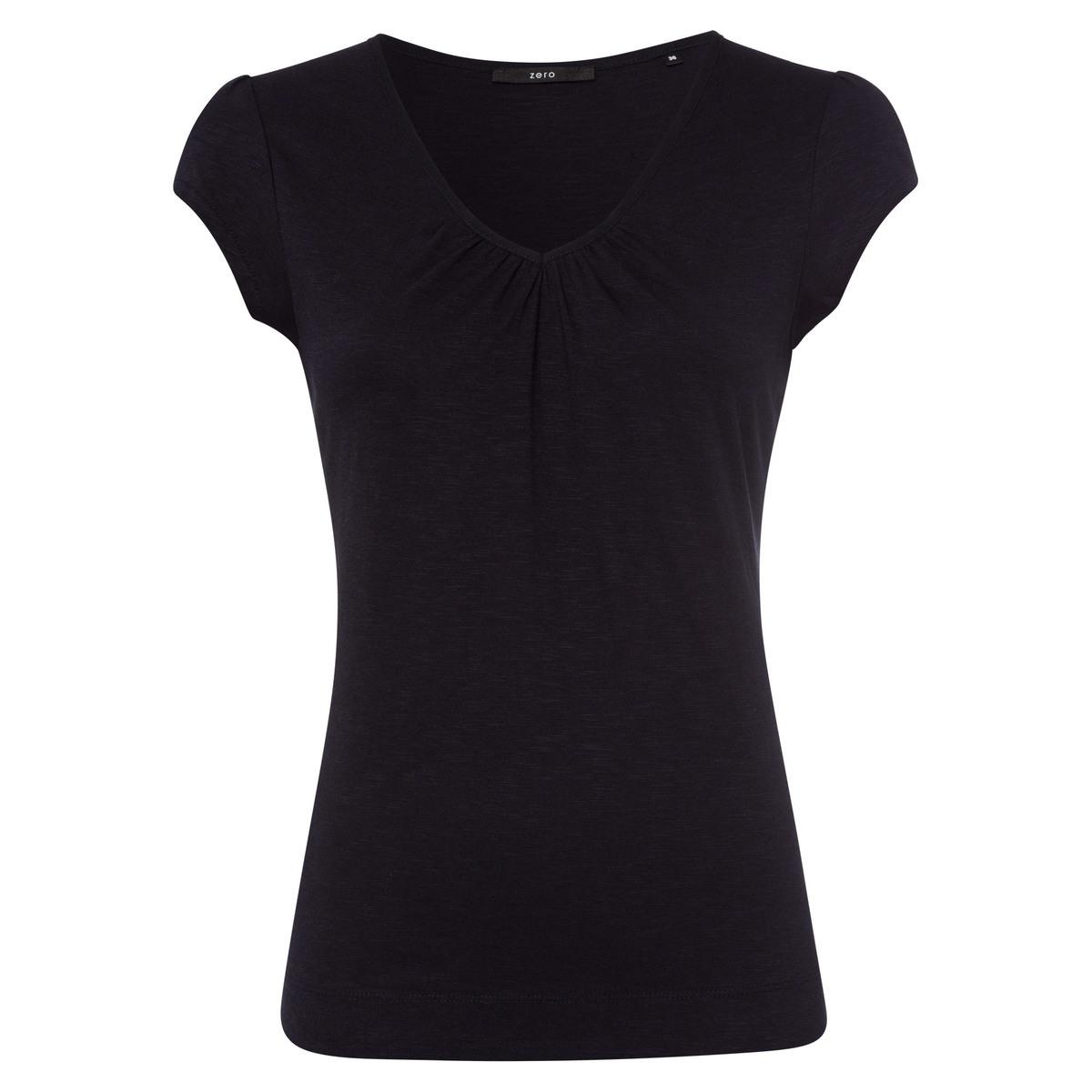 T-Shirt Valea mit gerafftem Ausschnitt in blue black