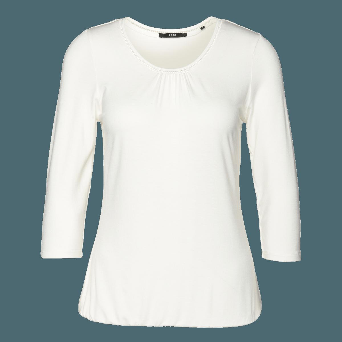 Viskose-Shirt mit Lochstickerei in offwhite