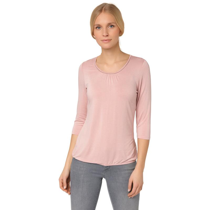Viskose-Shirt mit Lochstickerei in rose parfait