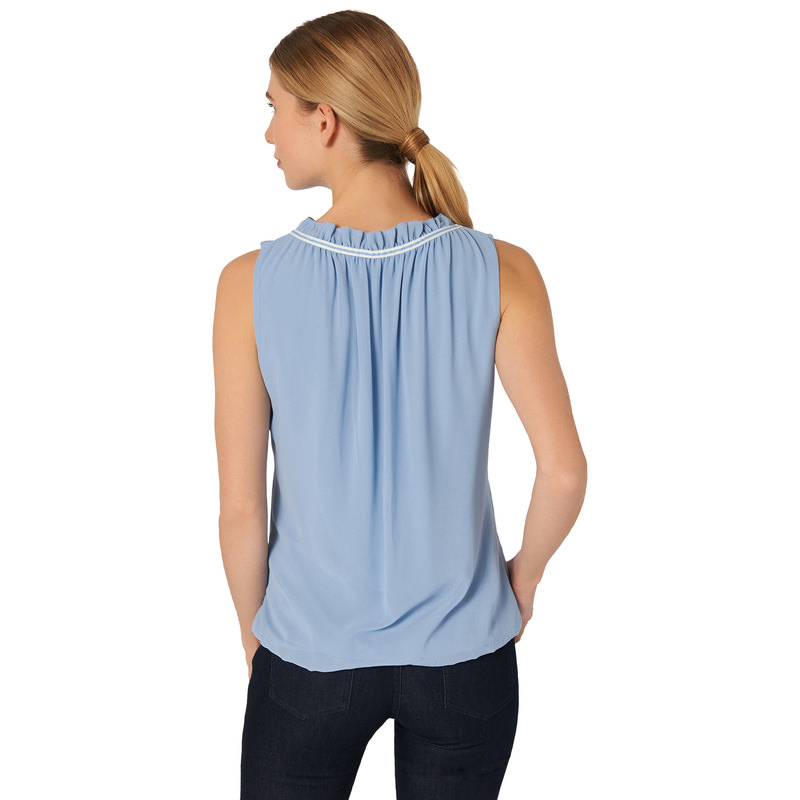 Bluse mit Volants in lily blue