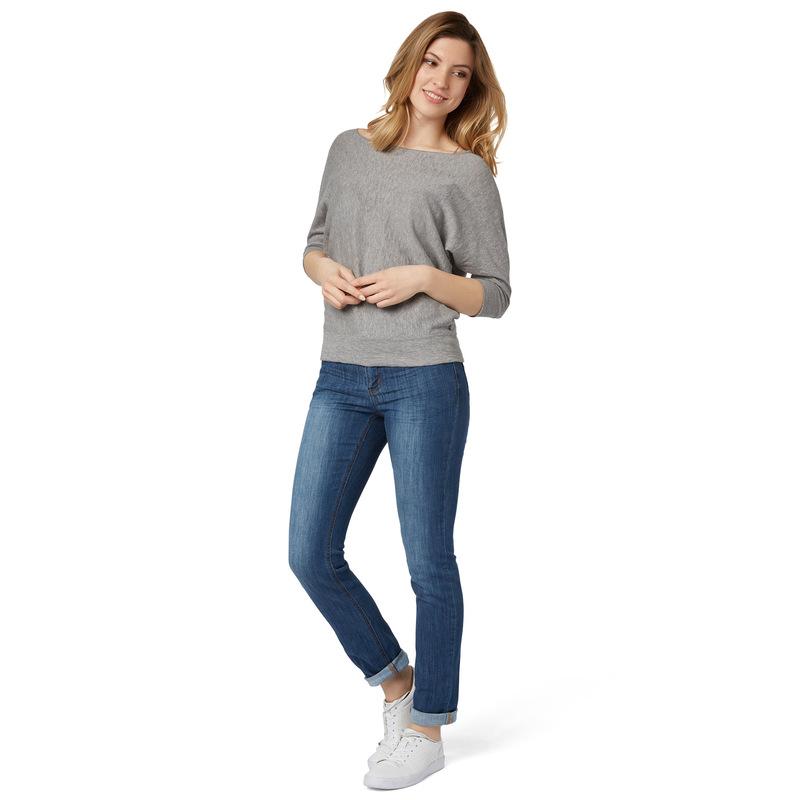 Pullover mit Fledermaus-Ärmeln in silver grey-m