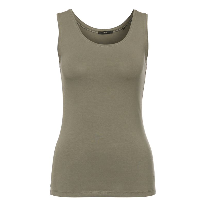 Top Tara im unifarbenen Design in sage olive