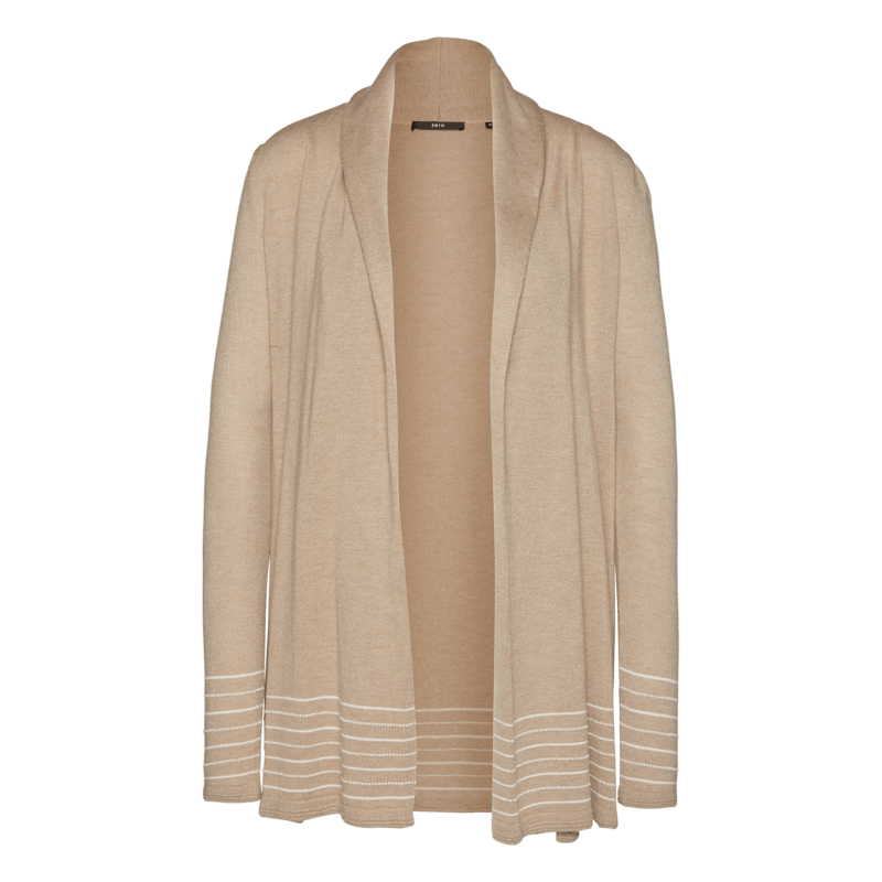 Strickjacke in langer Schnittform in beige