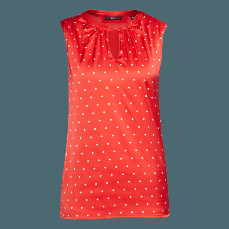 Top Amelie mit gepunkteter Front in red