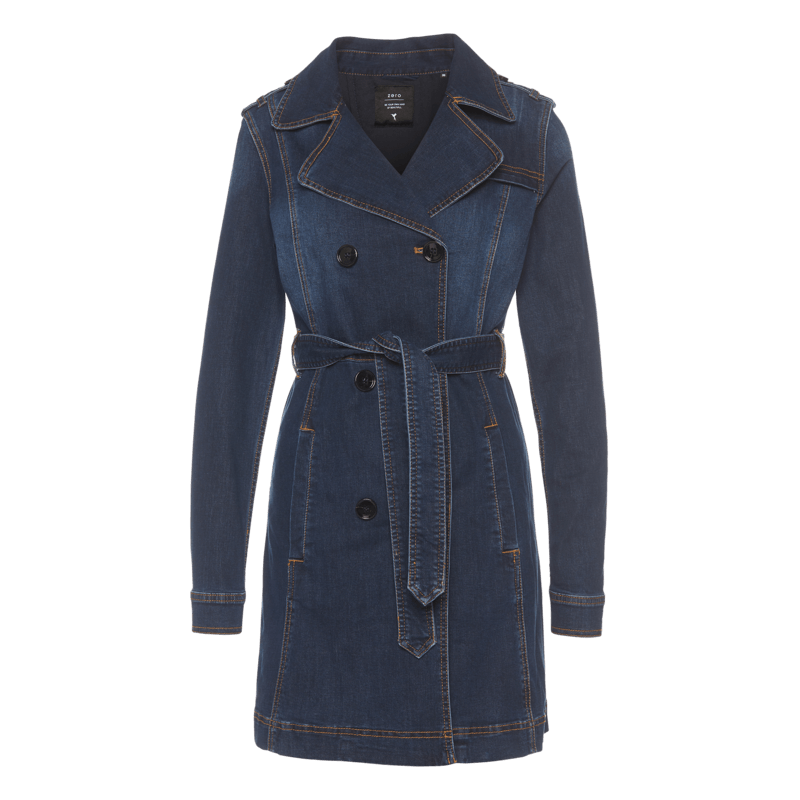 Trenchcoat im Denim-Look in mid blue heavy washed