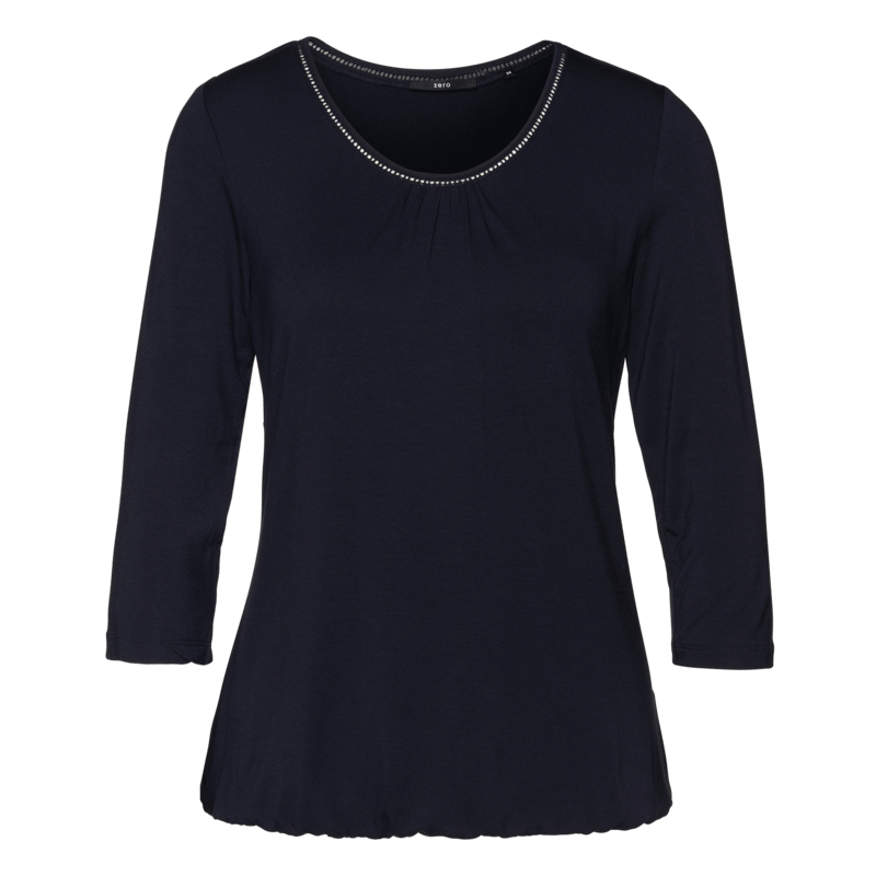 Viskose-Shirt mit Lochstickerei in blue black