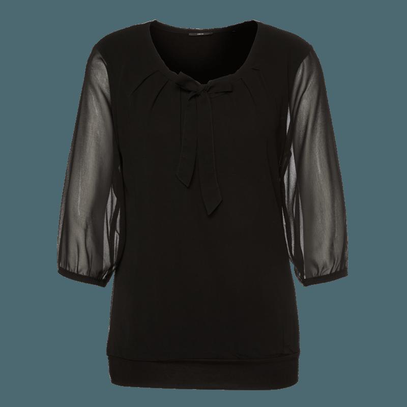 Bluse Celeste mit Schluppenkragen in black
