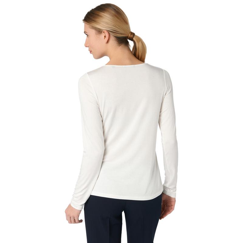 Langarmshirt mit tonalem Besatz in offwhite