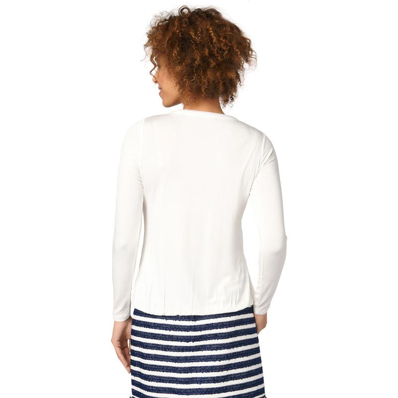 Jerseyshirt im Materialmix in offwhite