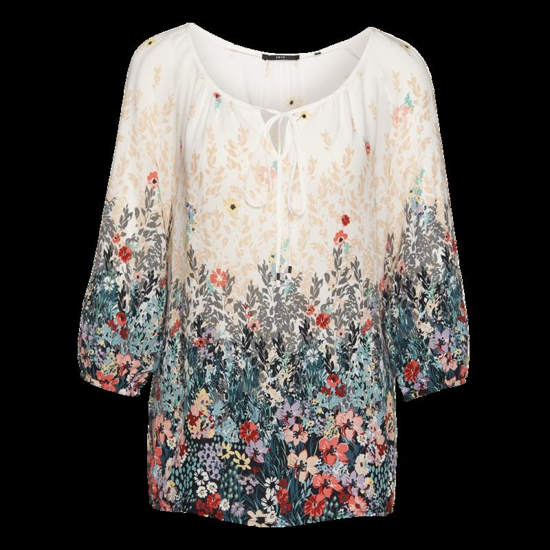Bluse mit floralem Border-Print in offwhite