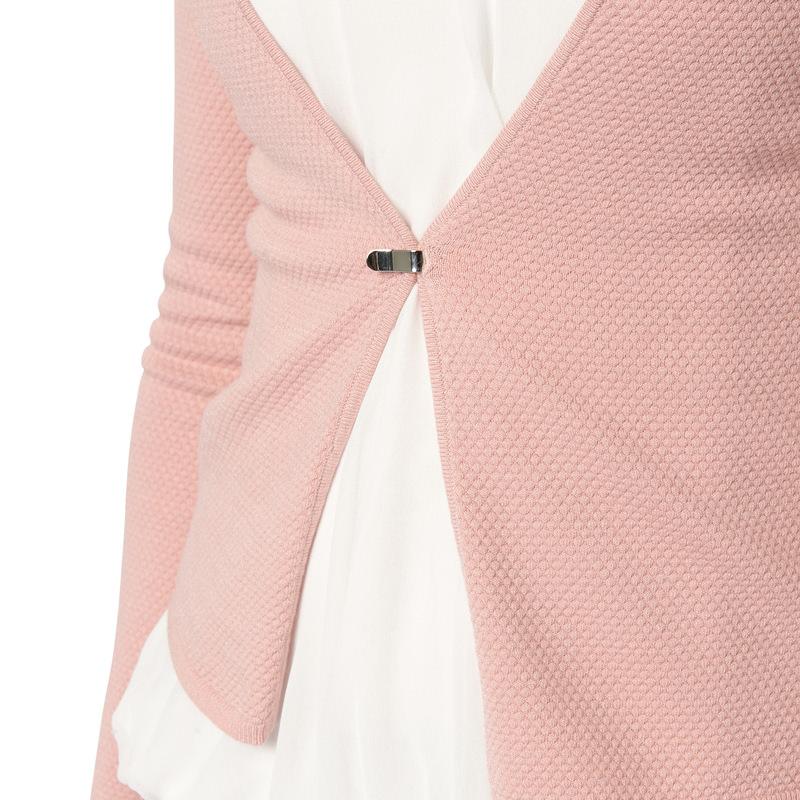 Kurze Strickjacke mit Struktur in rose parfait